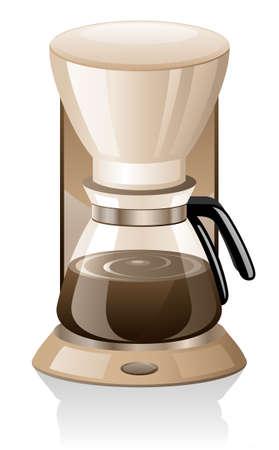 메이커: Coffee maker isolated on white background. 일러스트