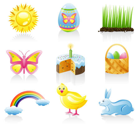 Easter icon set. Isolated on a white background. Vector