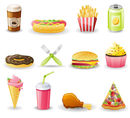 Fast food icon set.  Isolated on a white background. Illustration