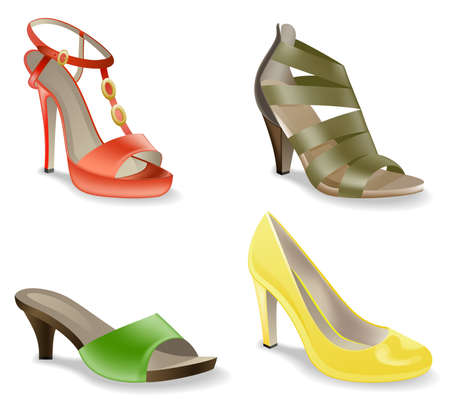 Women's  shoes isolated on white background. Stock Vector - 9421015