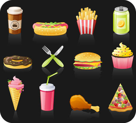 Fast food black background  icon set: coffee, hot dog, french fries, doughnut, fork, burger, fruitcake, ice-cream, drink, chicken, pizza