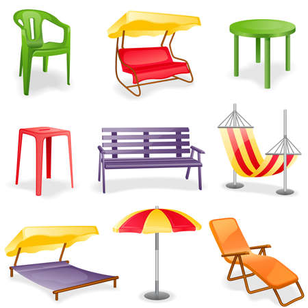 round chairs: Garden furniture icon set.  Isolated on a white background.