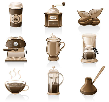 grinder machine: Vector coffee icon set isolated on white background.