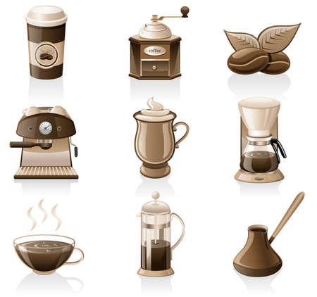 molinillo: Vector de conjunto de iconos de caf� aislada sobre fondo blanco.