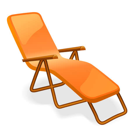 poolside: Chaise longue isolated on a white background. Illustration