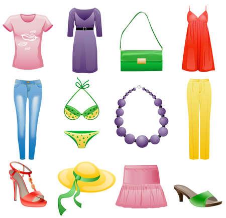 洋服: 女性の服やアクセサリー夏のアイコンを設定します。白い背景で隔離されました。  イラスト・ベクター素材