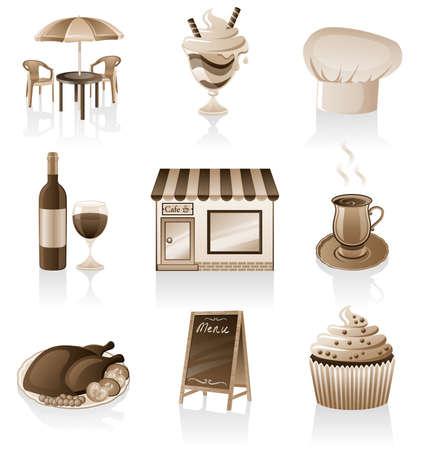 ice tea: Vector cafe icon set isolated on white background.