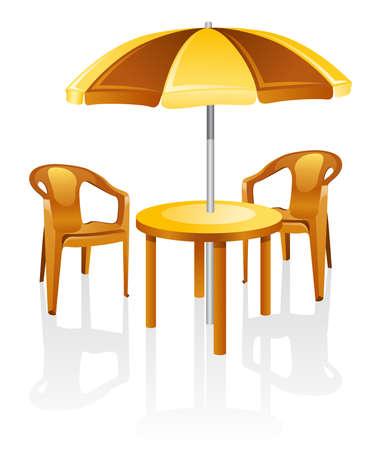 CAFE, meubles de jardin : table, titulaire de la chaire, parasol.  Isol� sur un fond blanc.