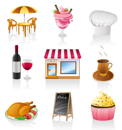 table food: Vector cafe icon set isolated on white background.