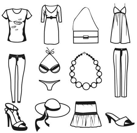Accesorios y ropa de mujer verano conjunto de iconos. Aisladas sobre fondo blanco. Ilustración de vector