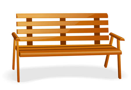 park bench: Bench isolated on a white background. Illustration