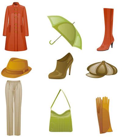 autumn fashion: Woman fashion autumn icon set. Isolated on white background. Illustration