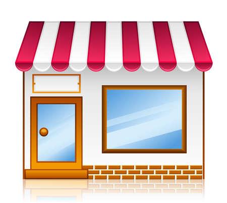 市場店。ベクトル市場ショップ アイコン上分離の白い背景を設定します。