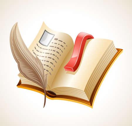 pluma de escribir antigua: Libro abierto y una pluma. Aisladas sobre fondo blanco.