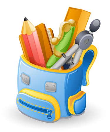 Schooltas: potlood, boek, pen, liniaal, kompassen. Geà ¯ soleerd op witte achtergrond.