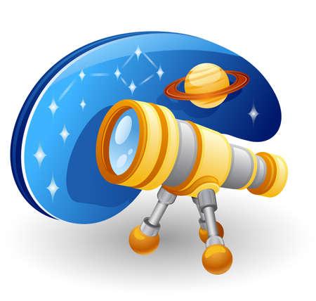 fernrohr: Teleskop vor Sternenhimmel und Jupiter. Isoliert auf weißem Hintergrund.
