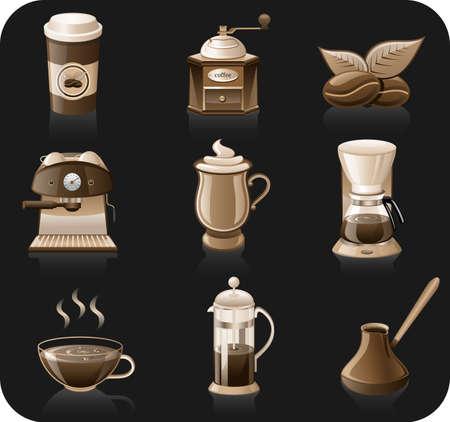 molinillo: Conjunto de iconos de fondo caf� negro. conjunto de iconos de caf� aislada sobre fondo negro.