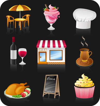 cafe icon set isolated on black background.