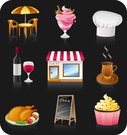 restaurant exterior: cafe icon set isolated on black background.
