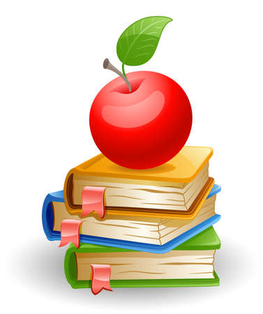 Red apple and school books isolated on white background.