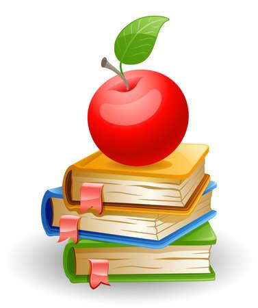Rode appel en school boeken geà ¯ soleerd op witte achtergrond.