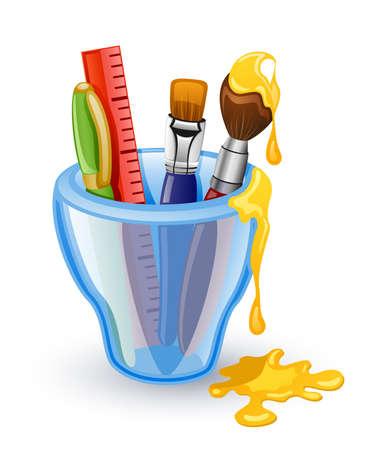 Des outils scolaires: plume, pinceau, r�gle dans le verre. Isol� sur fond blanc.