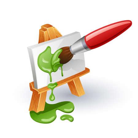 art and craft equipment: Caballete y el pincel. Pincel lienzo en el caballete de color sobre fondo blanco. Vectores
