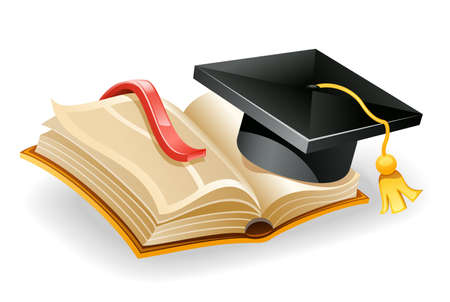 bookmark: Vector illustration of graduation cap and open book. Isolated on white background.