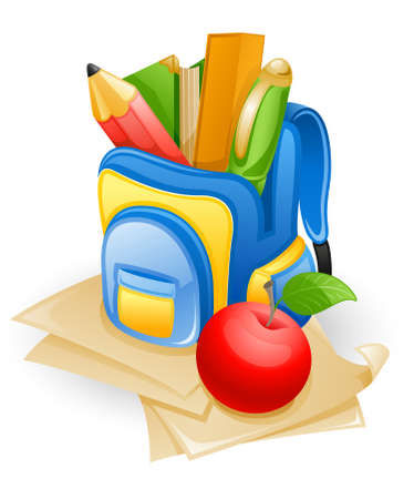 children studying: School bag: pencil, book, pen, ruler and apple on paper.  Illustration