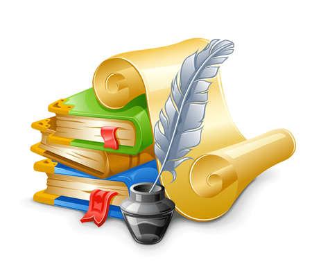 Libros, papiros con pluma de la pluma y el tintero. Aisladas sobre fondo blanco. Ilustración de vector