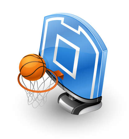 court symbol: illustration basketball hoop, blue backboard and ball on white background.