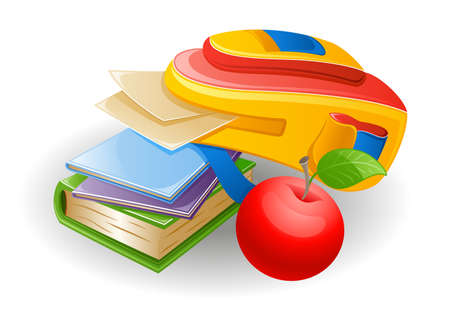 Vector illustration of school bag: notebook, book, paper and apple on white background. Vector