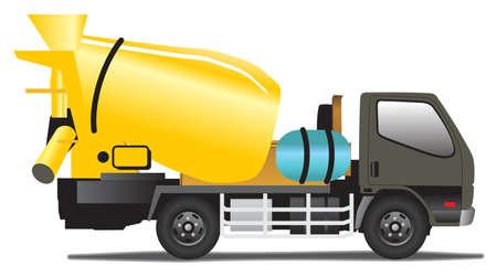 illustration of concrete mixer on white background.