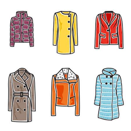 illustration de femmes manteaux sur fond blanc