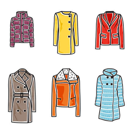 woman fur: illustration of women coats on white background
