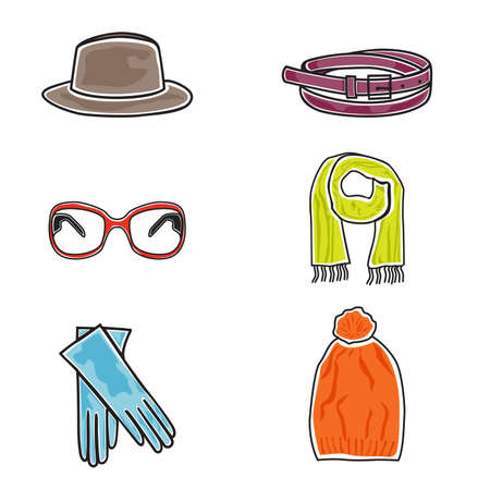 eyewear fashion: Vector illustration of fashion accessories on white background
