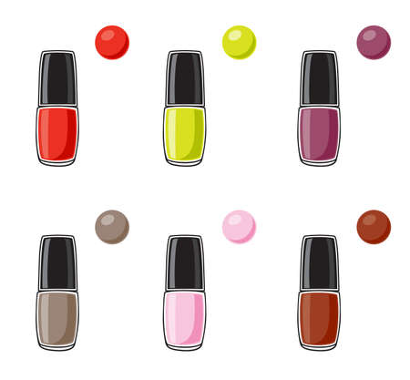 pedicure set: Vector illustration of nail polish on white background