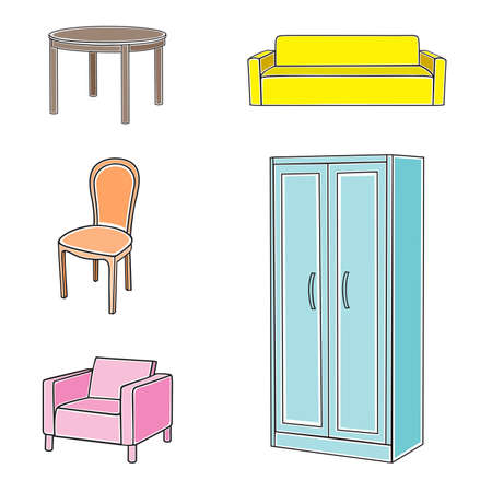 Vector illustration of furniture on white background Vector