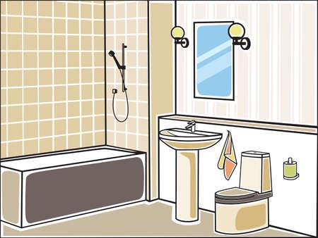 ванная комната: Векторная иллюстрация ванной комнаты Иллюстрация