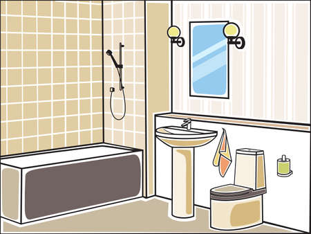 Vector illustration of bathroom Illustration