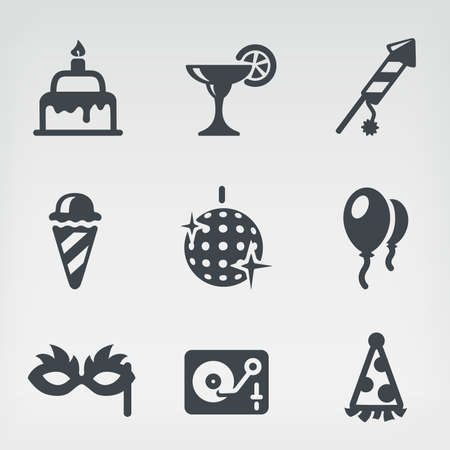 pasteles de cumpleaños: Ilustración del vector del partido sobre fondo claro