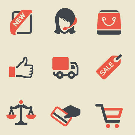 Vector illustration shopping black and red on light background Vector