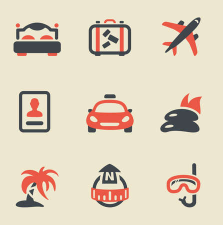 Vector illustration of travel black and red on light background