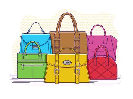 leather bag: Set of bags. Fashion handbag accessory, leather bag with handle