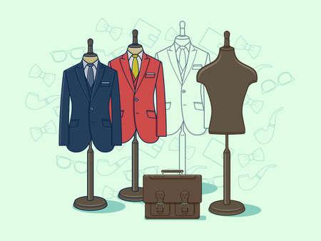 moda ropa: Maniquí para la ropa. ropa de moda en maniquí para la ilustración por menor Vectores