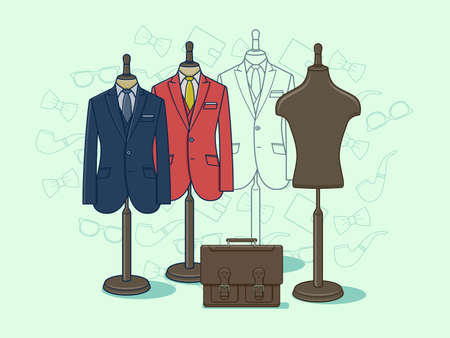 shop: Mannequin for clothes. Fashion clothing on dummy for retail illustration