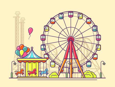 ricreazione: Funfair con ruota panoramica. Divertimento e carnevale, carosello nel parco, illustrazione