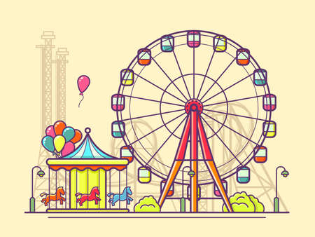 Funfair with ferris wheel. Amusement and carnival, carousel in park, illustration Illustration