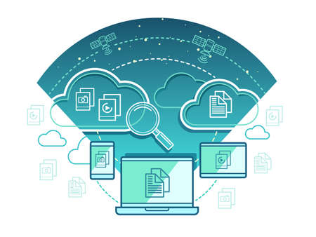 Information technology concept. Communication network, computer connection with cloud data, illustration Illustration