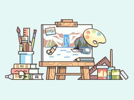 craft supplies: Easel and painting supplies. Art craft, brush and palette, set of tool for drawing. Illustration